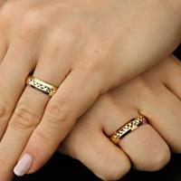 Aliança De Ouro Casamento Com Diamantes E Lisa - As0735 + As0546 Casa Das Alianças