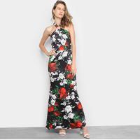 Vestido Edivi Longo Floral Decote Cruzado - Feminino-Preto