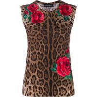 Dolce & Gabbana Blusa Animal Print De Tricô - Marrom