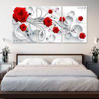 Quadro Canvas Rosas Flores Vermelhas Fundo Abstrato Decoração Quartos E Salas - Decorativo Oppen House