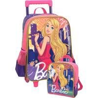 Kit Mochila Luxcel De Rodinha Barbie Com Lancheira Luxcel 34402 Roxo