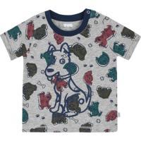Camiseta Com Botãµes- Cinza & Azul Marinho- Baby-Puc
