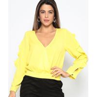 Blusa Lisa Com Babados & Transpasse - Amarela - Chocchocoleite