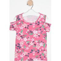 Blusa Com Ombros Vazados - Rosa & Azul Marinho- Kidsmalwee