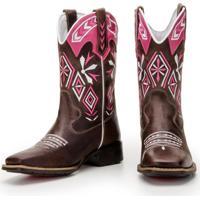 Bota Capelli Boots Texana De Couro Rosa