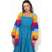 Casaco Casulo Listras Rainbow Estampado