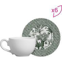 Conjunto De Xícaras De Chá Tropical- Verde & Branco-Scalla Cerâmica