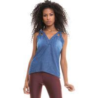 Blusas Com Vazador Frente Blue Jeans
