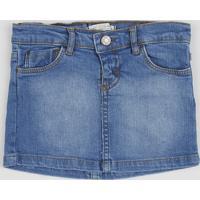 Saia Jeans Infantil Com Bolso Bordado De Gatinho Azul Médio