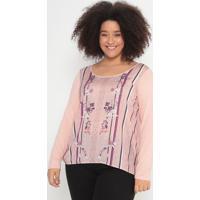 Blusa Floral Com Recortes- Rosa Claro & Roxa- Malweemalwee