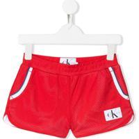 Calvin Klein Kids Short Com Patch De Logo - Vermelho