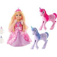 Boneca Barbie - Princesa Chelsea E Bebês Unicórnios - Mattel
