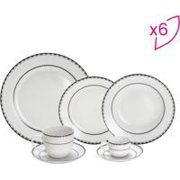 Aparelho De Jantar Em Porcelana Blue Silver- Off White &Rojemac