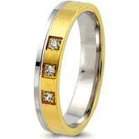 Aliança De Casamento Feminina Ouro 18K E Prata 950 Wm Joias 5Mm Com Zircônia F2599 - Feminino-Dourado