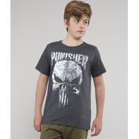 Camiseta Juvenil O Justiceiro Manga Curta Cinza Mescla Escuro
