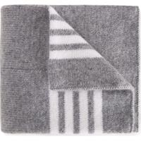 Thom Browne Kids Cobertor Listrado De Caxemira - Grey