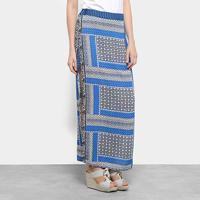 Saia Top Modas Longa Estampada Fenda - Feminino-Azul