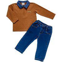 Conjunto Camisa Polo E Calça Masculina - Anjos Baby Marrom