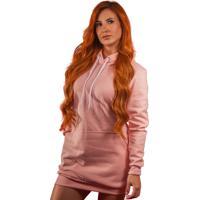 Vestido Blusão Moletom Liso Rosa Tubinho Capuz E Bolso R 002