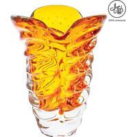 Vaso Texturizado- Incolor & Âmbar- 30Xø21Cm- Cricristais São Marcos