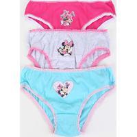 Calcinha Infantil Disney Evanilda Kit C/3 Minnie -01.03.0013 - Feminino-Pink