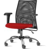 Cadeira Liss Com Bracos Curvados Assento Courino Vermelho Base Semi Arcada Cromada - 54658 Sun House