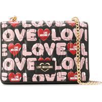 Love Moschino Bolsa Tiracolo Matelassê Com Estampa De Logo - Preto