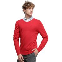 Suéter Tommy Hilfiger Masculino Classic Cotton V Neck Haute Red