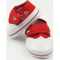 Tênis Bebê Unissex Vermelho Bordado Coroa Com Velcro -P - Unissex-Vermelho
