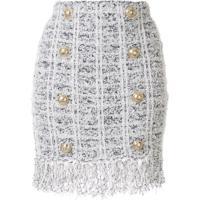 Balmain Double Breasted Boucle Mini Skirt - Branco