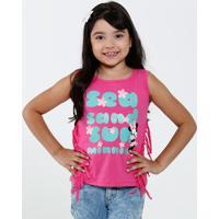 Blusa Infantil Estampa Minnie Franjas Disney