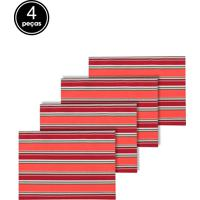 Jogo Americano 4Pçs Próxima Textil Listras Vermelho