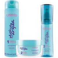 Kit Tratamento Plástico De Argila Shampoo Revitalizante + Fluido Finalizador + Máscara De Argila