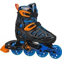 Patins Inline Roller Derby 4 Rodas Tracer Boy - Ajustável Do Tamanho M 32 Ao 36 - I149Bm - Preto