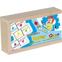 Dominó Cores - Bege & Azul- 28Pçs - Carlucarlu