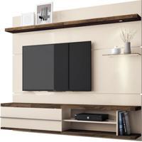 Painel Para Tv De Até 55 Polegadas Com Luminária, Off White Com Deck, Vivara