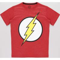 Camiseta Juvenil The Flash Manga Curta Vermelha