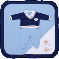 Saída De Maternidade Fofinho Meia Malha Aviador Azul