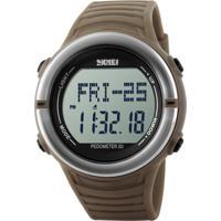 Relógio Pedômetro Skmei Digital 1111 - Marrom E Prata