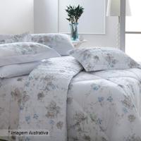 Conjunto De Colcha Aspen Queen Size- Branco & Azul- Sultan