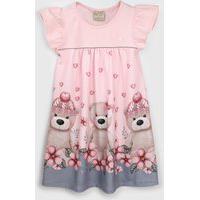 Vestido Milon Infantil Urso Rosa/Cinza