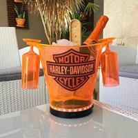 Balde Em Acrílico Harley Davidson Laranja 4,5 L Com 2 Taças