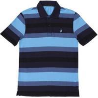 Camisa Polo Regular Listrada Tassa Masculina - Masculino-Azul