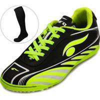 a21a2de581 Chuteira Futsal Dsix Kit 2 Em 1 Ds19-6203 Preto E Verde Limão