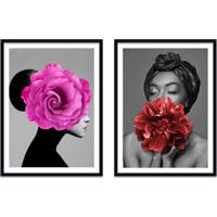 Quadro 67X100Cm Ágda Mulher Com Flores Rosa E Vermelha Nórdico Moldura Preta Com Vidro