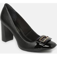 Sapato Em Couro Com Aviamento Metalizado - Preto- Sajorge Bischoff