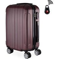 Mala De Bordo Viagem Abs Swisstop - Localizador Bluetooth, Rodas Duplas 360º, Cadeado Tsa - Unissex-Vermelho