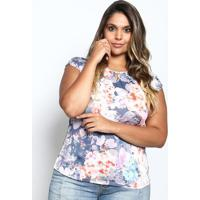 Blusa Com Vazado- Laranja & Azul Marinho- Mirasulmirasul