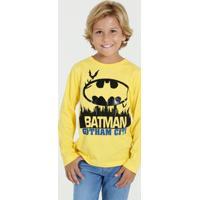 Camiseta Infantil Batman Manga Longa Liga Da Justiça
