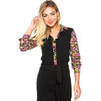 Camisa Zatana Floral Preta/Rpsa